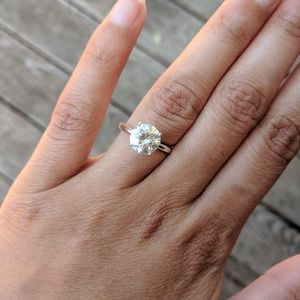 1.8 ct Champagne Moissanite Silver Engagement Ring